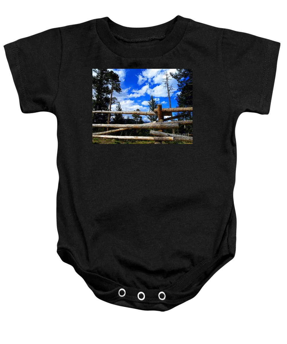 Wood Baby Onesie featuring the photograph Through The Fence by Charleen Treasures