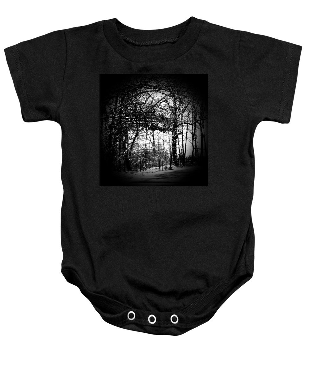 Trees Baby Onesie featuring the photograph Through The Lens- Black And White by Charleen Treasures