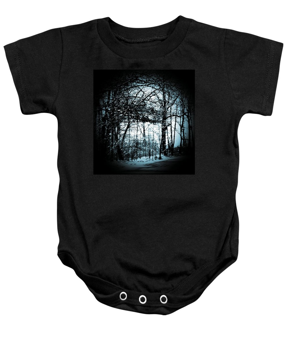 Trees Baby Onesie featuring the photograph Through The Lens-blue by Charleen Treasures