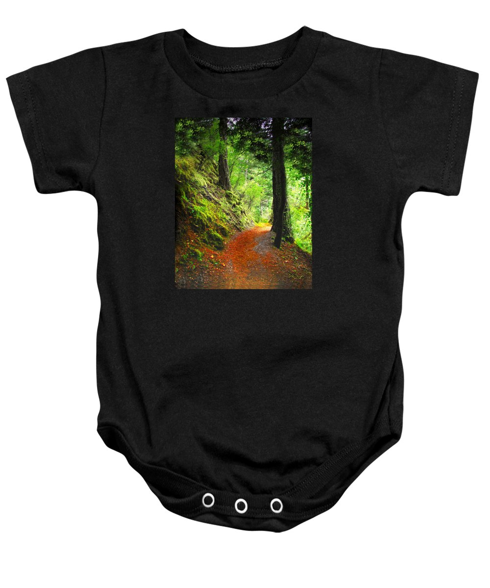 Path Baby Onesie featuring the digital art Through The Woods by Vicki Lea Eggen