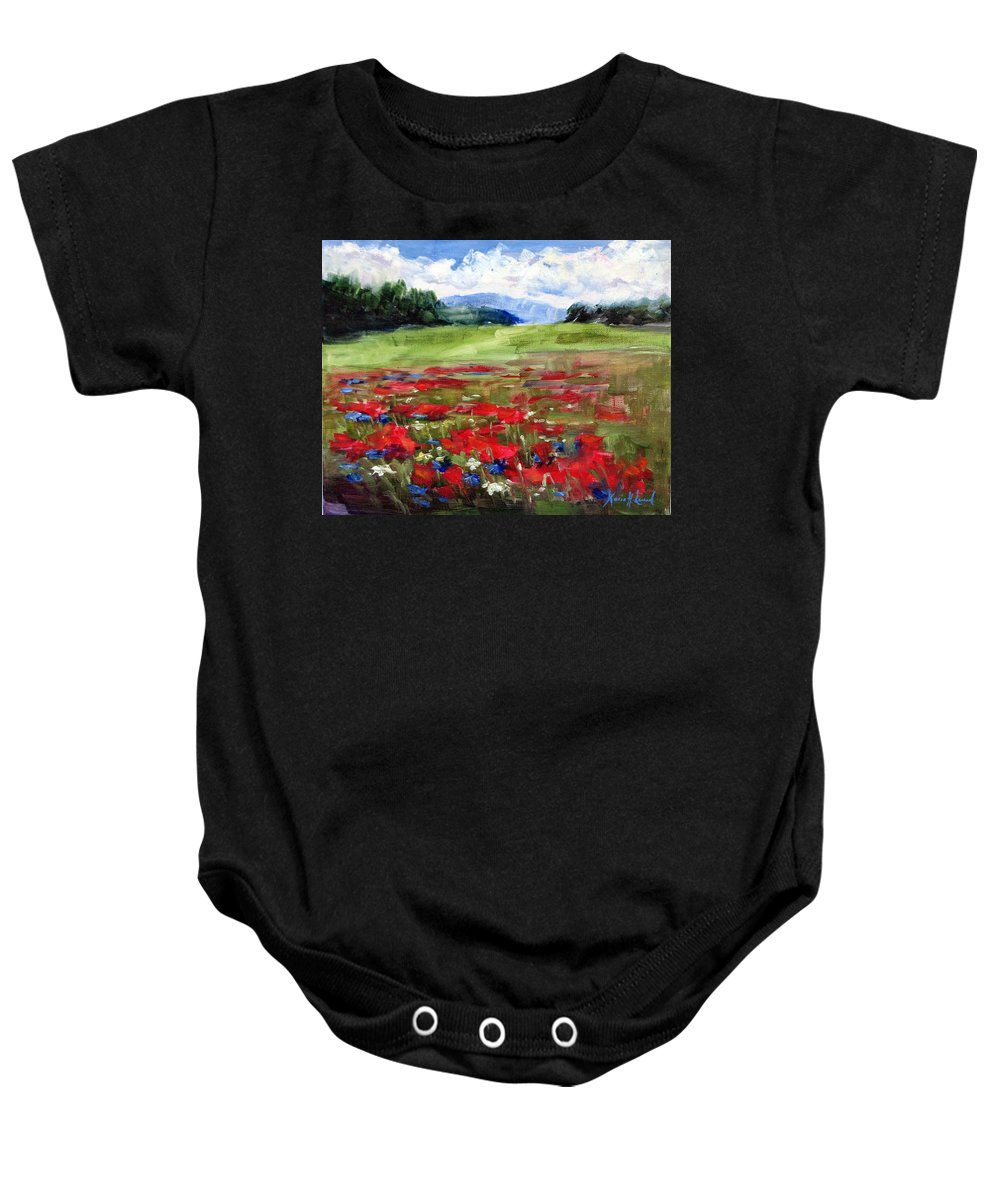 Red Poppies Baby Onesie featuring the painting Thunder Clouds Over Bavarian Meadow by Karin Leonard