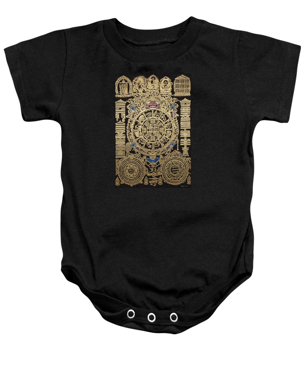 'treasures Of Tibet' Collection By Serge Averbukh Baby Onesie featuring the digital art Tibetan Thangka - Tibetan Astrological Diagram by Serge Averbukh