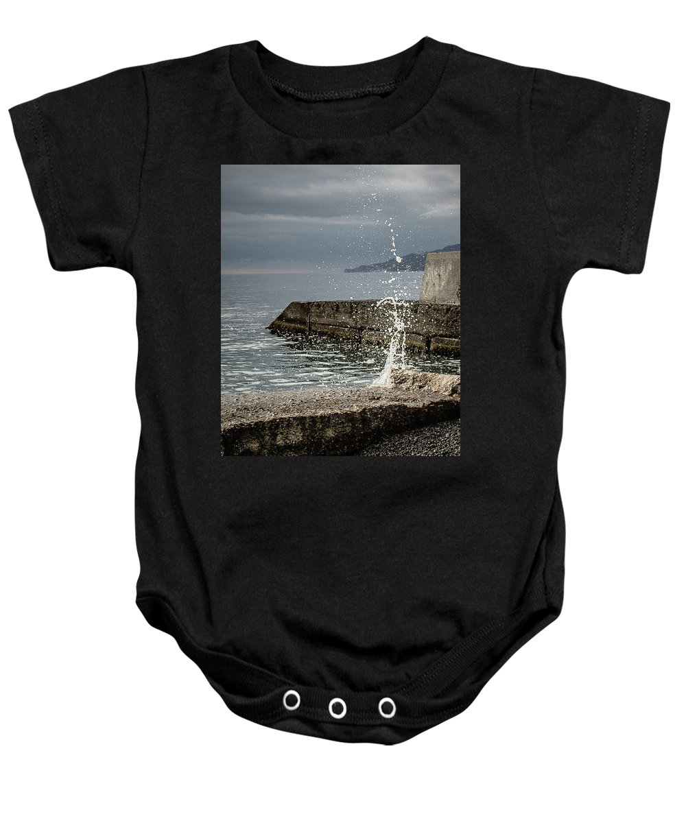 Pier Baby Onesie featuring the photograph Tidal Bore by Natalia Ochkalo