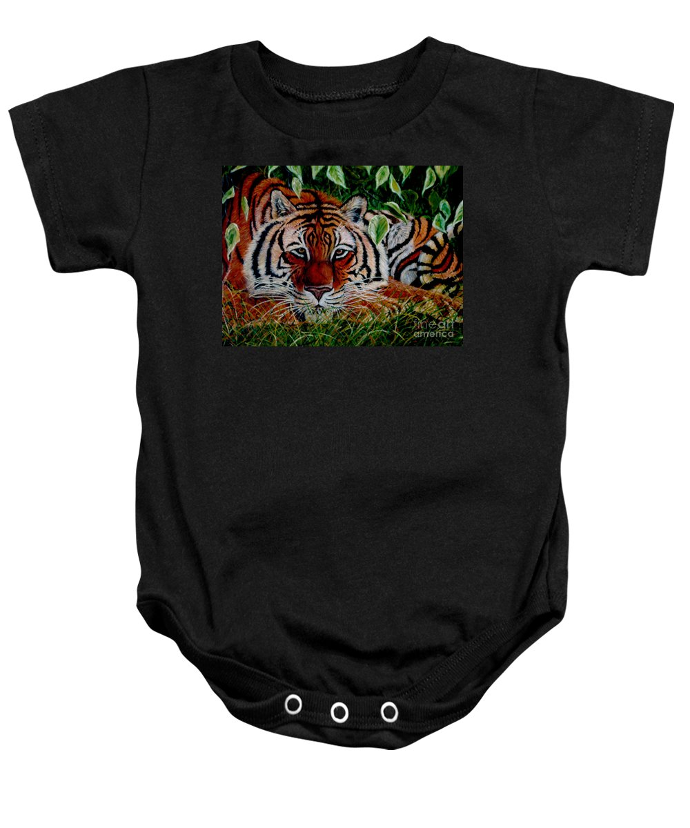 Tiger Baby Onesie featuring the painting Tiger In Jungle by Nick Gustafson