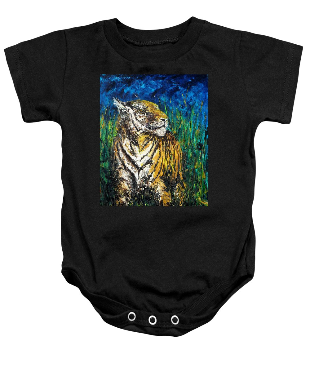 Tiger Baby Onesie featuring the painting Tiger Night Hunt by Shirley Heyn
