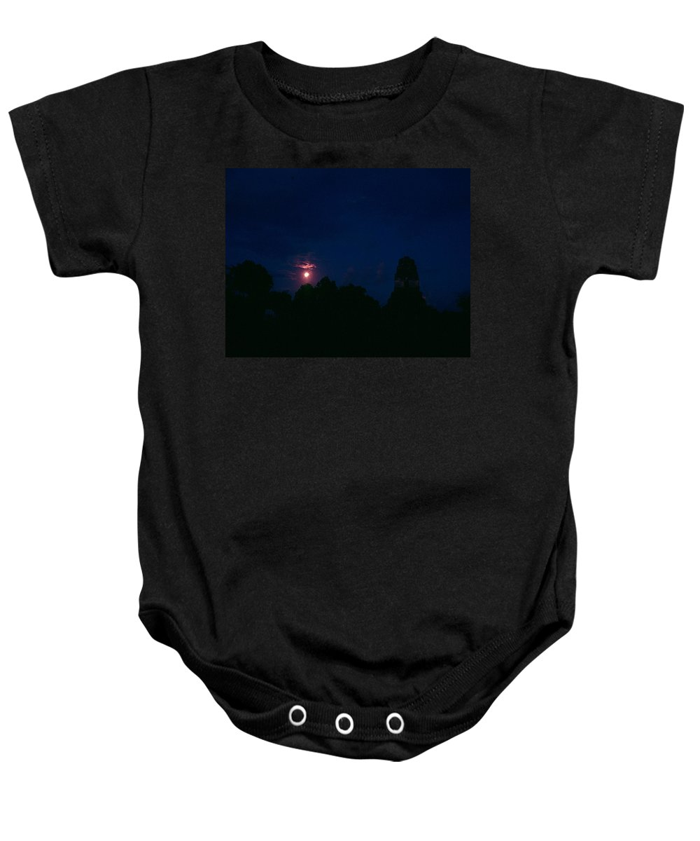 Tikal Baby Onesie featuring the photograph Tikal Guatemala Full Moon by Gary Wonning