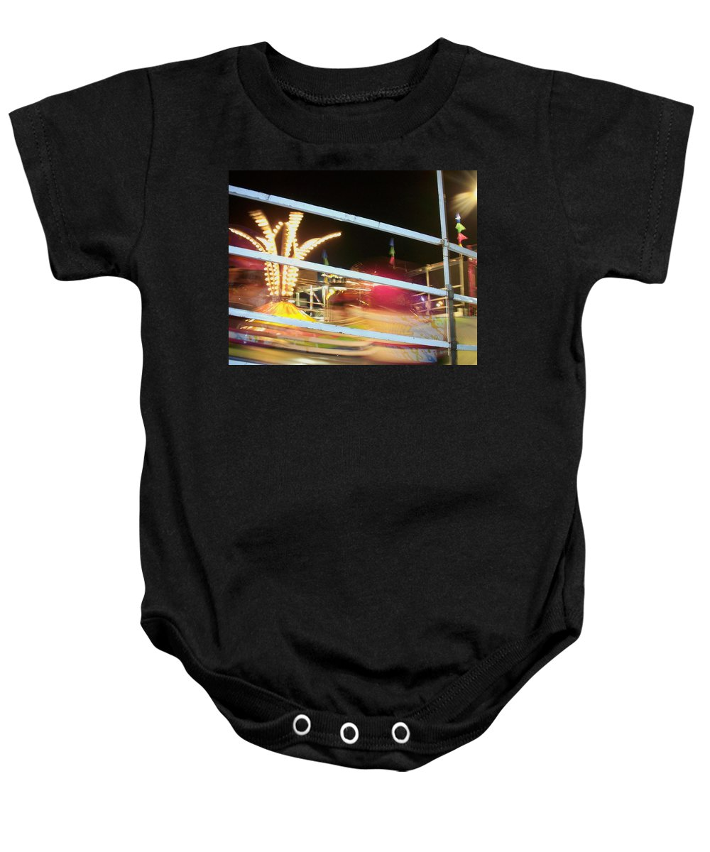 State Fair Baby Onesie featuring the photograph Tilt-a-whirl 2 by Anita Burgermeister