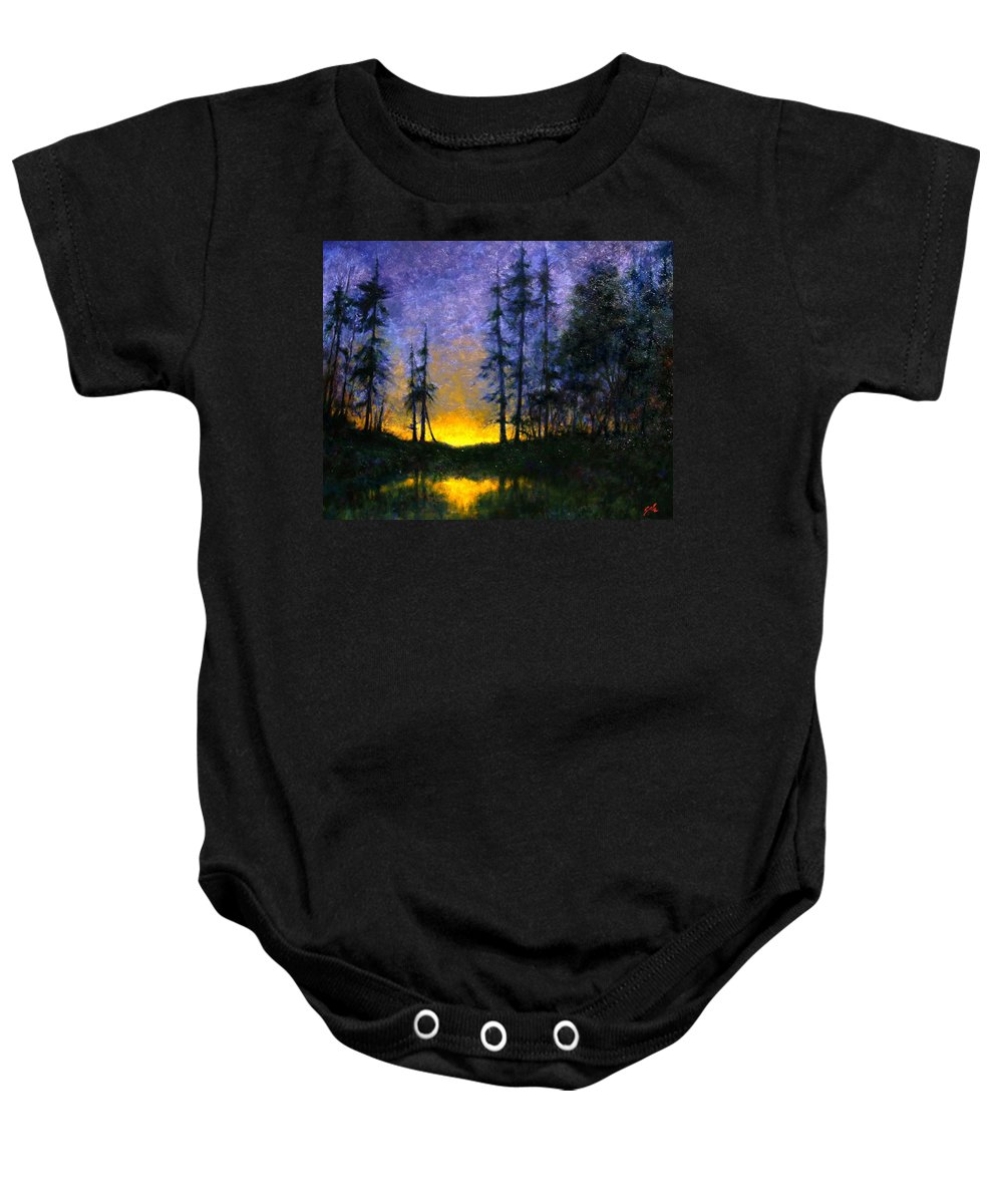 Landscape. Nocturn Baby Onesie featuring the painting Timberline by Jim Gola