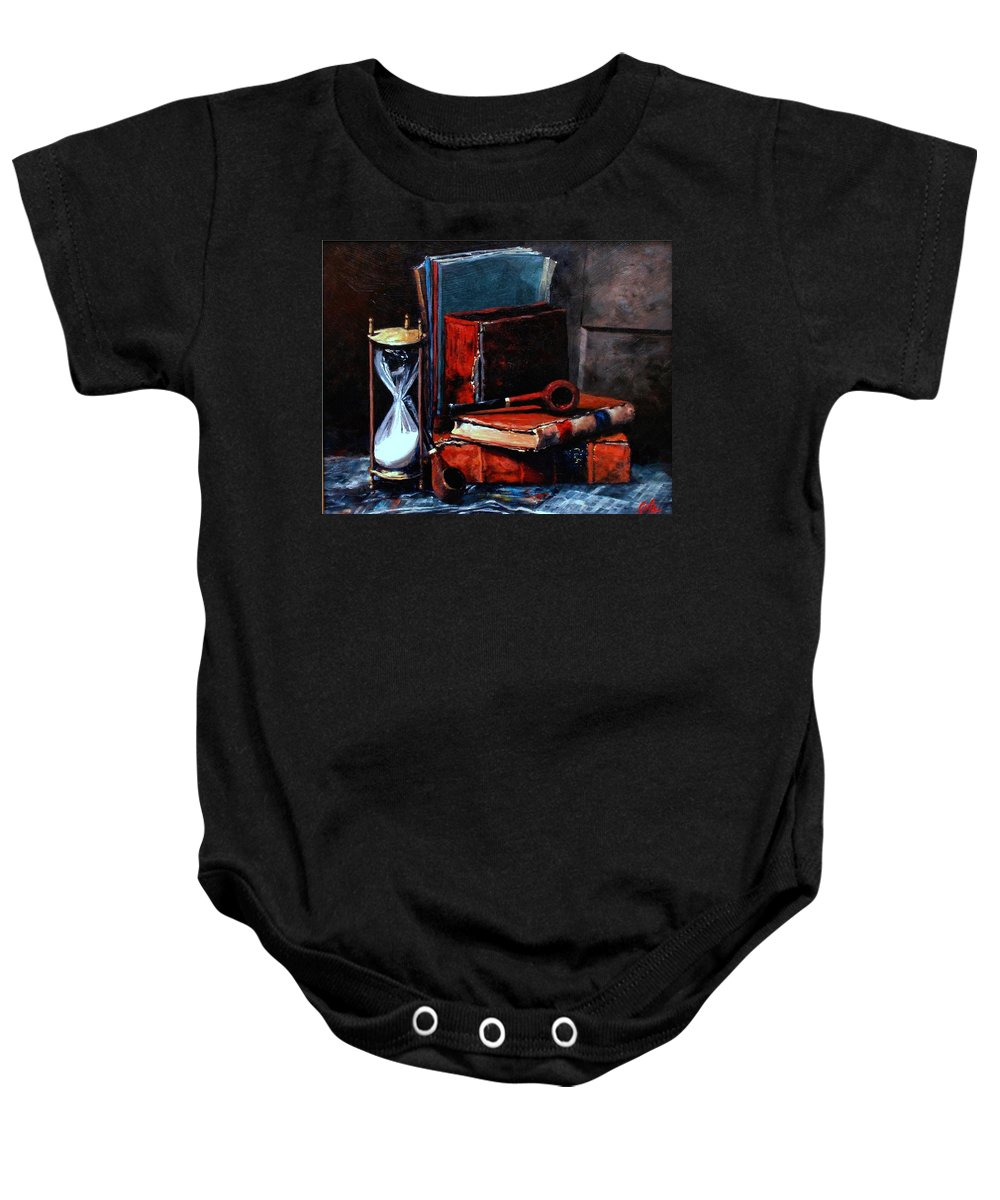 Still Life Painting Baby Onesie featuring the painting Time And Old Friends by Jim Gola