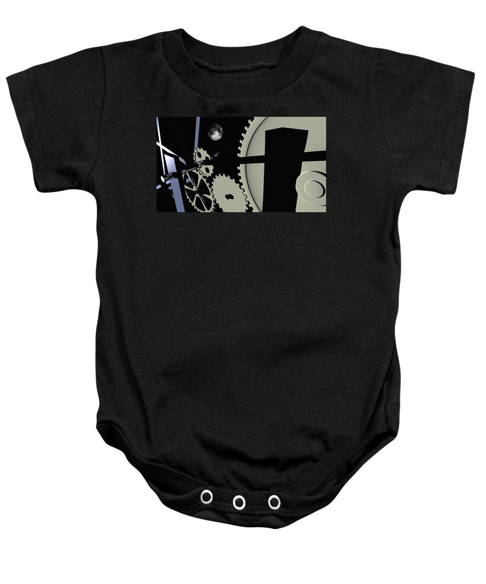Abstract Baby Onesie featuring the digital art Time And Space by Richard Rizzo