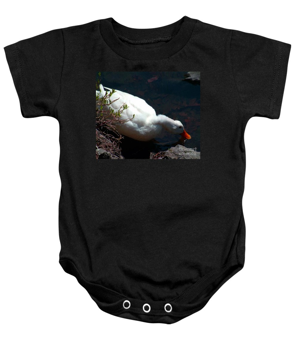 Duck Baby Onesie featuring the painting Time For A Drink by RC DeWinter