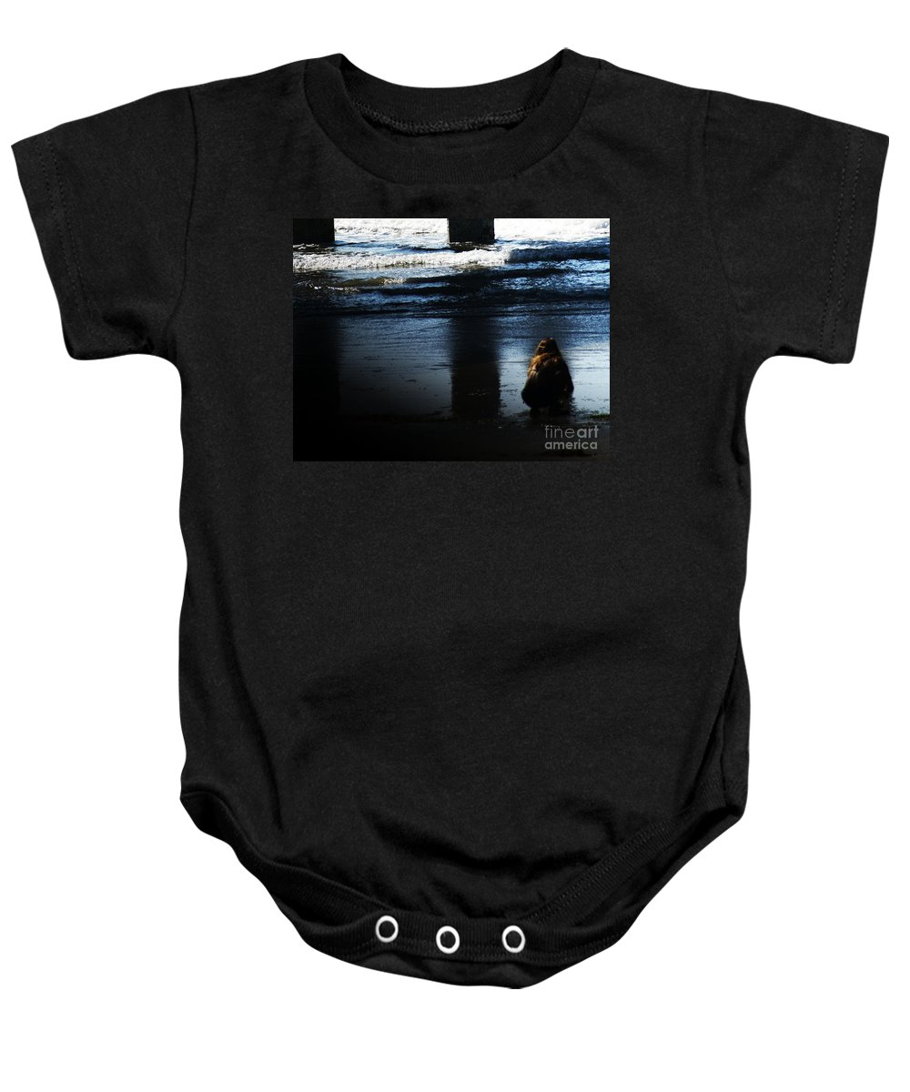 Pacific Baby Onesie featuring the photograph Time by Linda Shafer