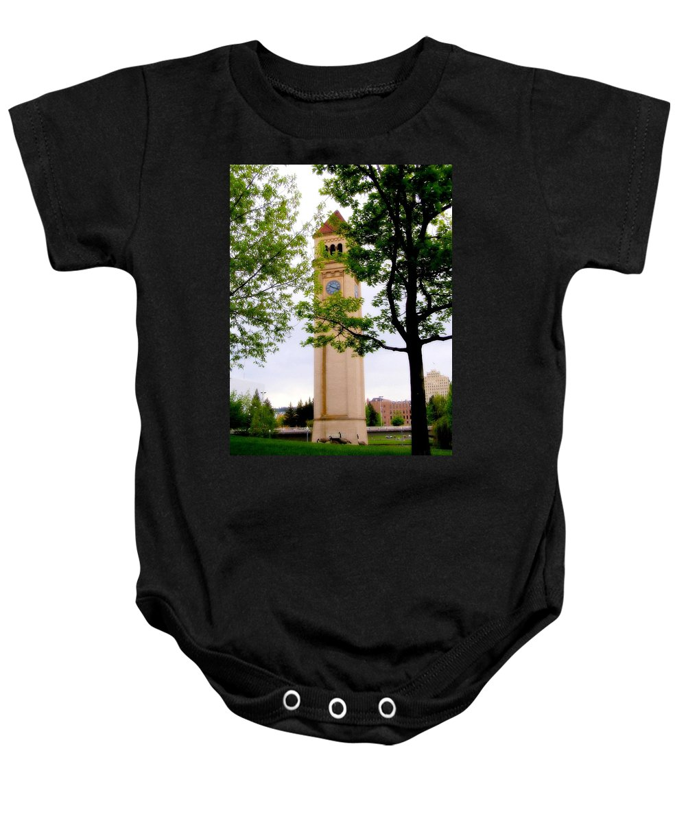 Clock Baby Onesie featuring the photograph Time by Susan Kinney