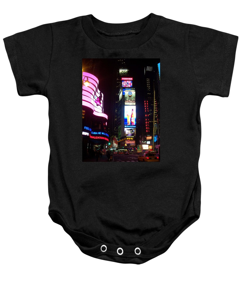 Times Square Baby Onesie featuring the photograph Times Square 1 by Anita Burgermeister