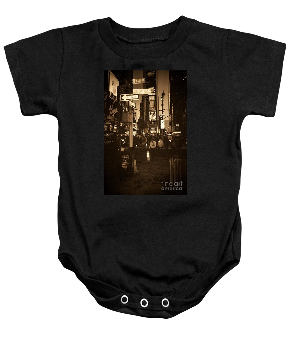 New York Baby Onesie featuring the photograph Times Square by Debbi Granruth