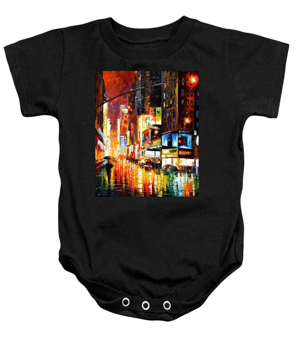 City Baby Onesie featuring the painting Times Square by Leonid Afremov