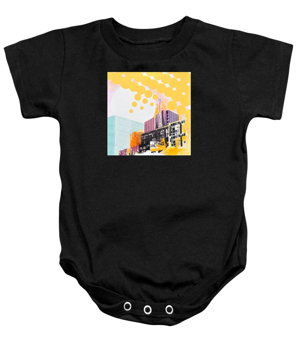 Ny Baby Onesie featuring the painting Times Square Milenium Hotel by Jean Pierre Rousselet
