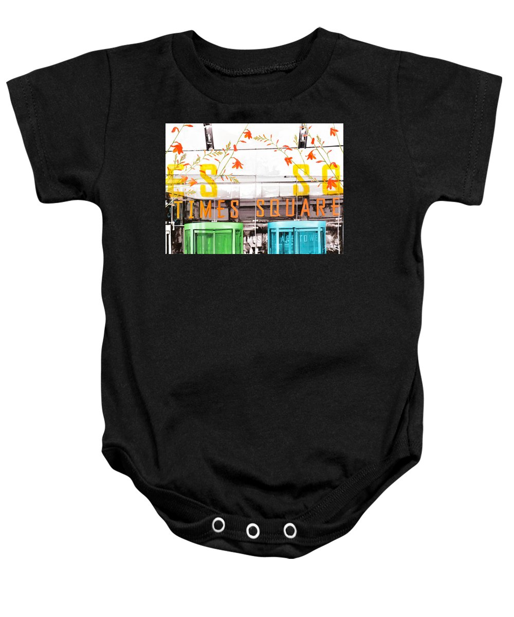 Ny Baby Onesie featuring the painting Times Square Tower by Jean Pierre Rousselet