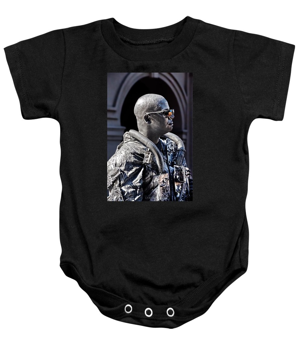 Man Baby Onesie featuring the photograph Tin Man by Christopher Holmes