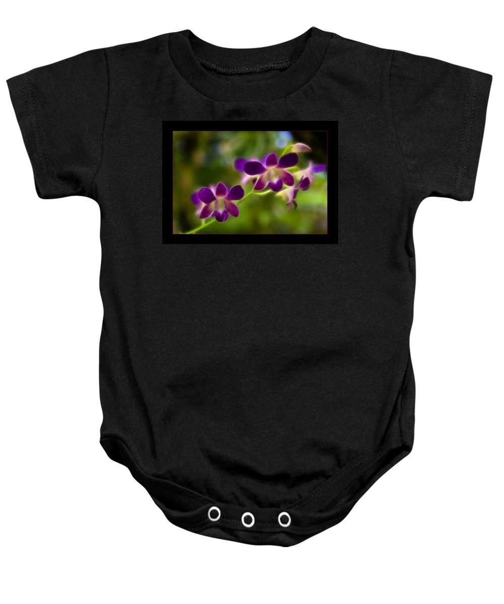Flower Baby Onesie featuring the photograph Tiny Purple Blooms by Ricky Barnard