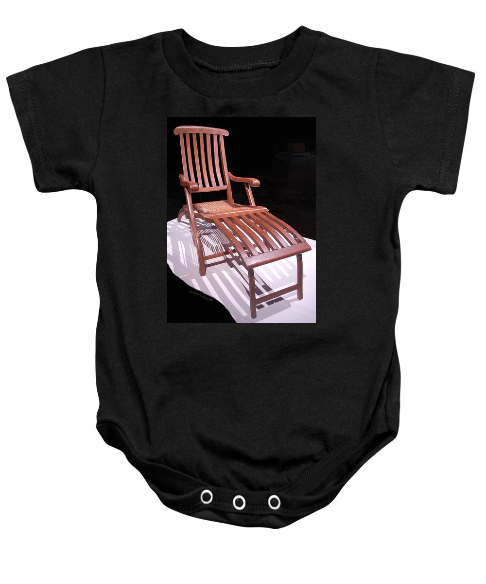 Titanic Baby Onesie featuring the digital art Titanic Teak Lounge by DigiArt Diaries by Vicky B Fuller