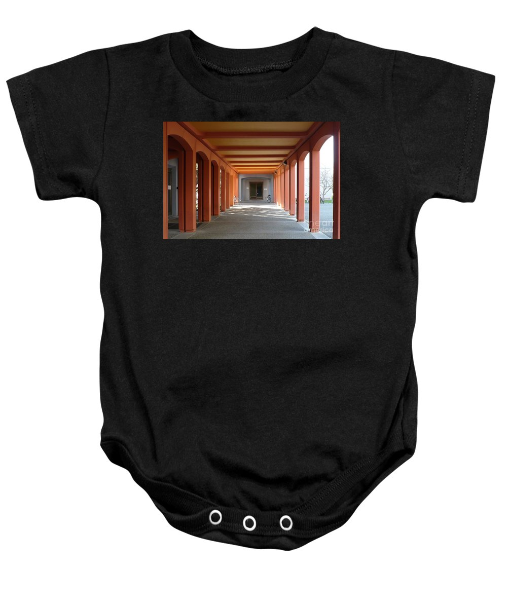 Perspective Baby Onesie featuring the photograph To Class by Carol Groenen