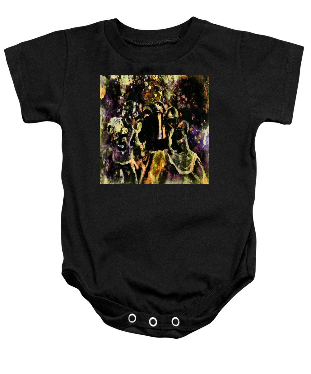 Tom Brady Baby Onesie featuring the painting Tom Brady Under Pressure 03c by Brian Reaves