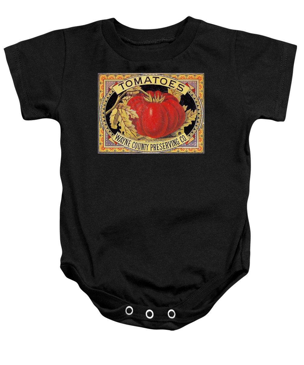 20th Century Baby Onesie featuring the photograph Tomato Can Label by Granger