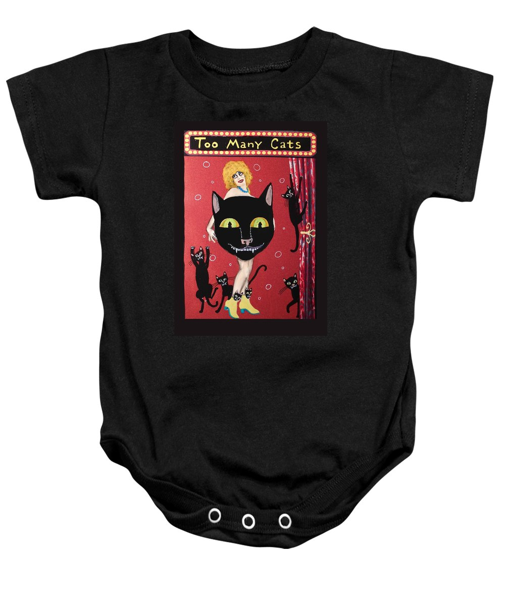 Black Cats Baby Onesie featuring the painting Too Many Black Cats by JoLynn Potocki