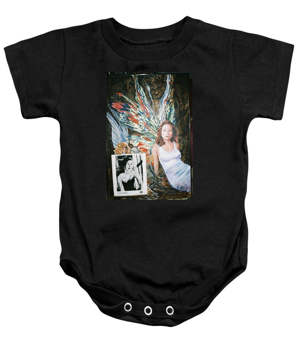 Tori Amos Baby Onesie featuring the painting Tori Amos by Bryan Bustard
