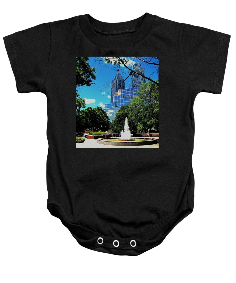 Park Baby Onesie featuring the photograph Toronto Wellington Street Park by Ian MacDonald