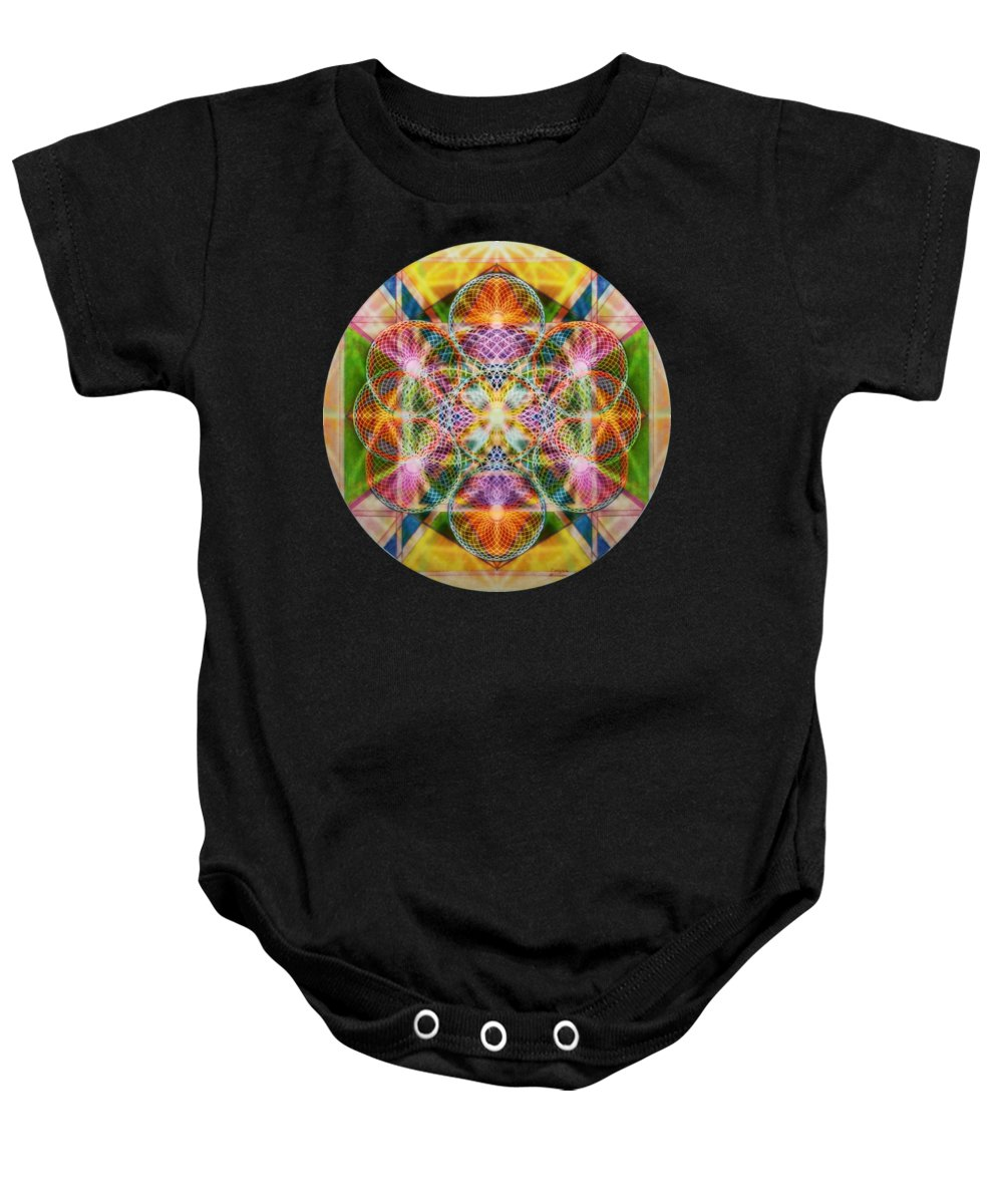 Torus Baby Onesie featuring the digital art Torusphere Synthesis Bright Beginning Soulin I by Christopher Pringer