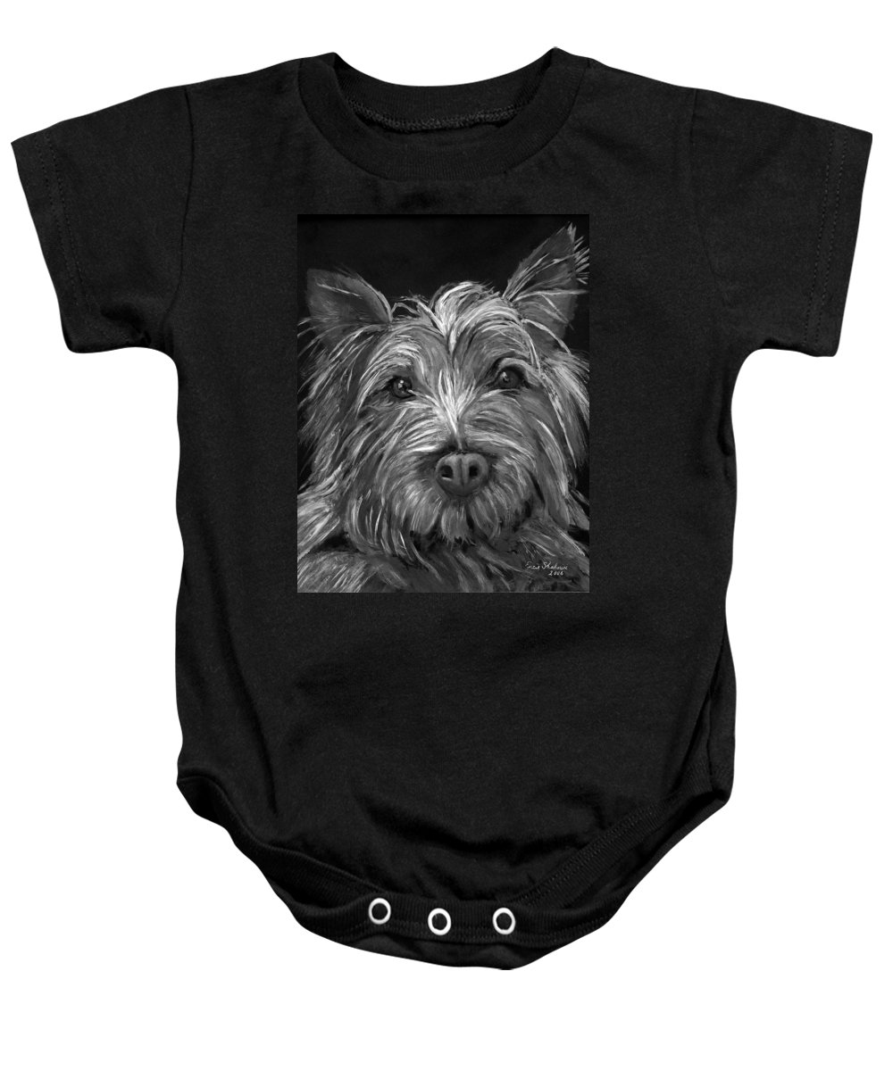 Dogs Baby Onesie featuring the painting Tosha The Highland Terrier by Portraits By NC