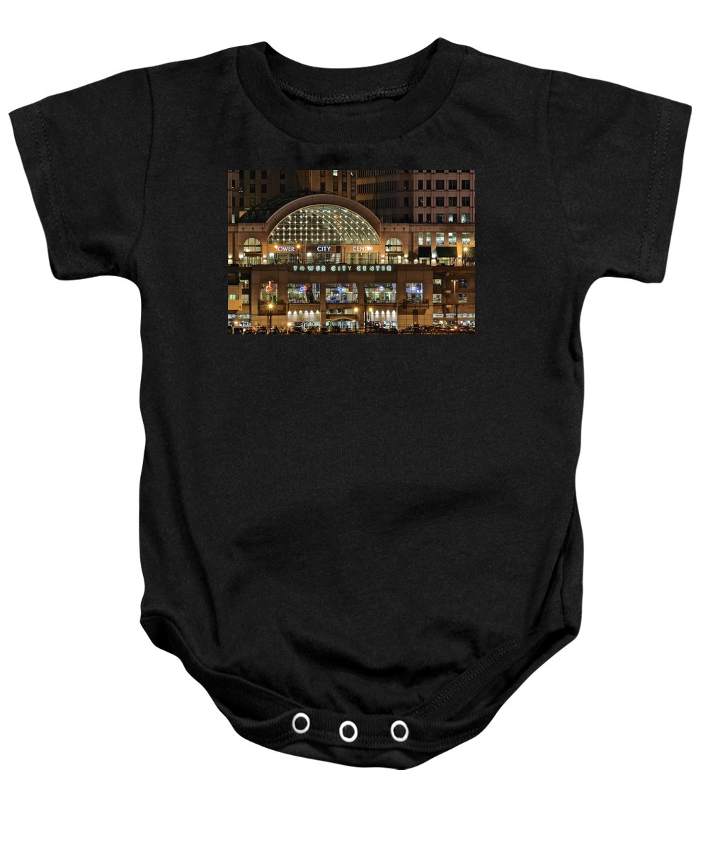 Cleveland Baby Onesie featuring the photograph Tower City Up Close by Frozen in Time Fine Art Photography