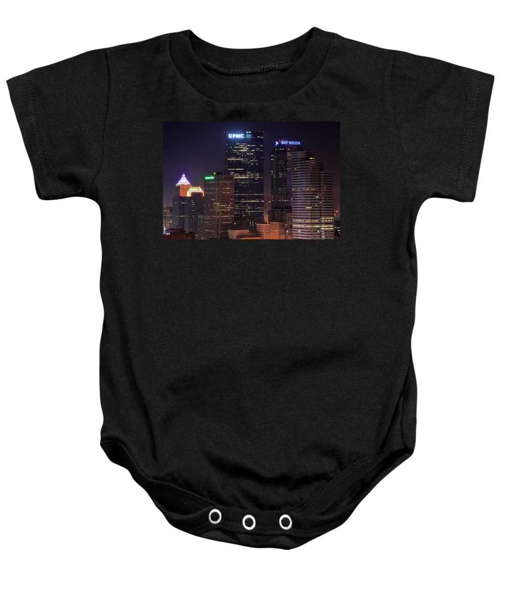 Pittsburgh Baby Onesie featuring the photograph Towering Buildings Of Pittsburgh by Frozen in Time Fine Art Photography