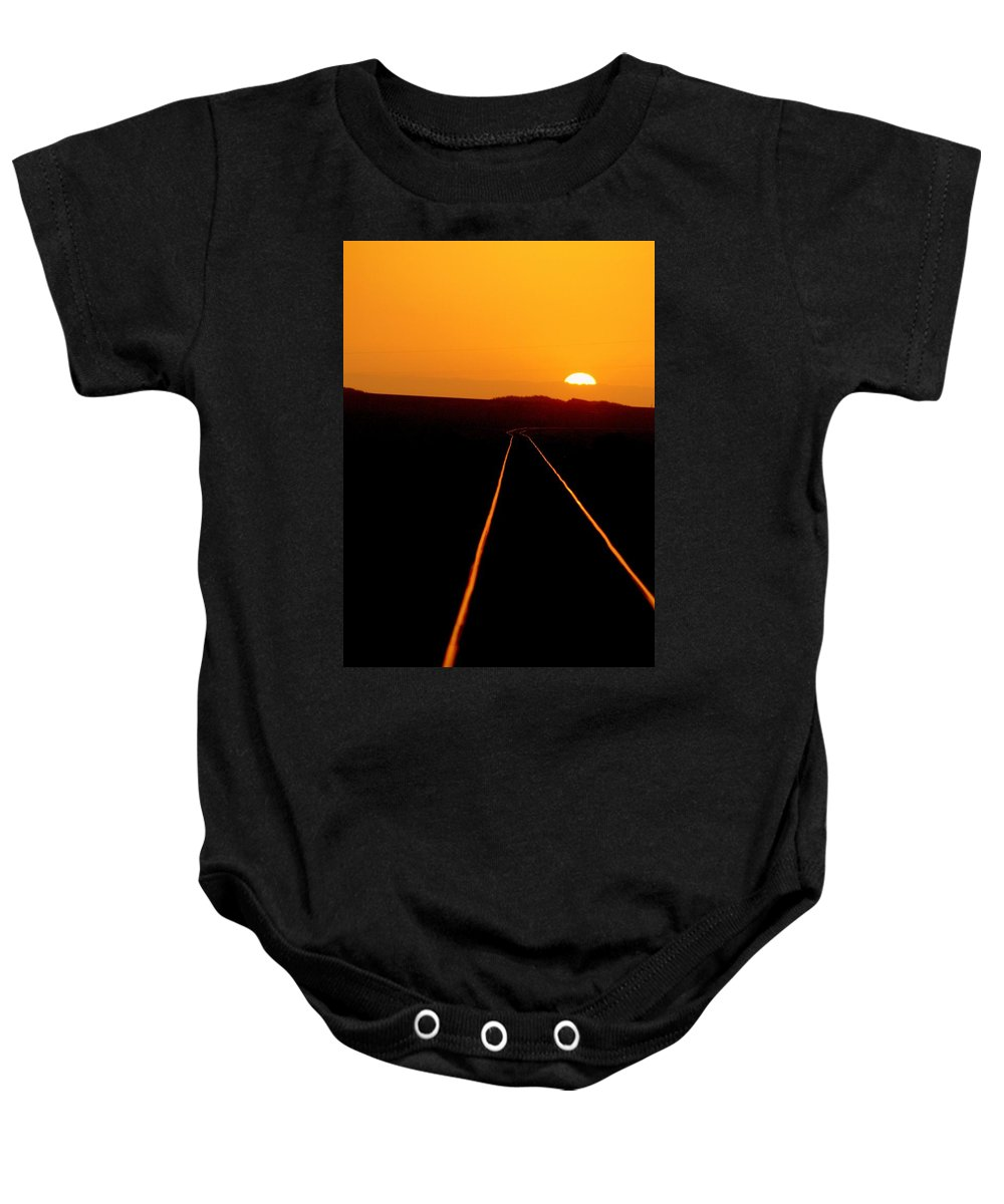 Train Track Baby Onesie featuring the photograph Tracks Of My Tears by Lynn Andrews