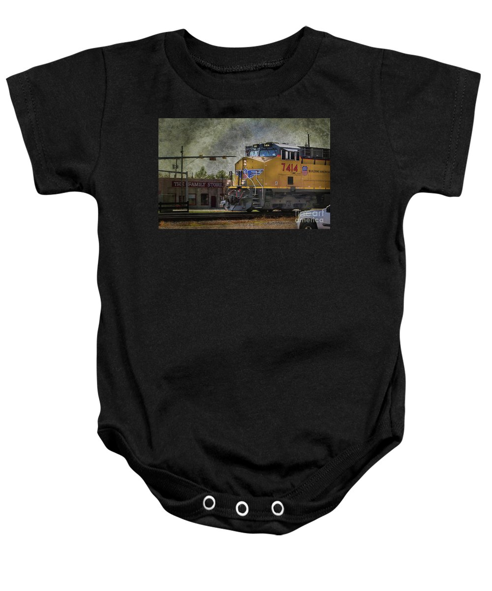 Train Baby Onesie featuring the photograph Train Coming Through by Joan Bertucci