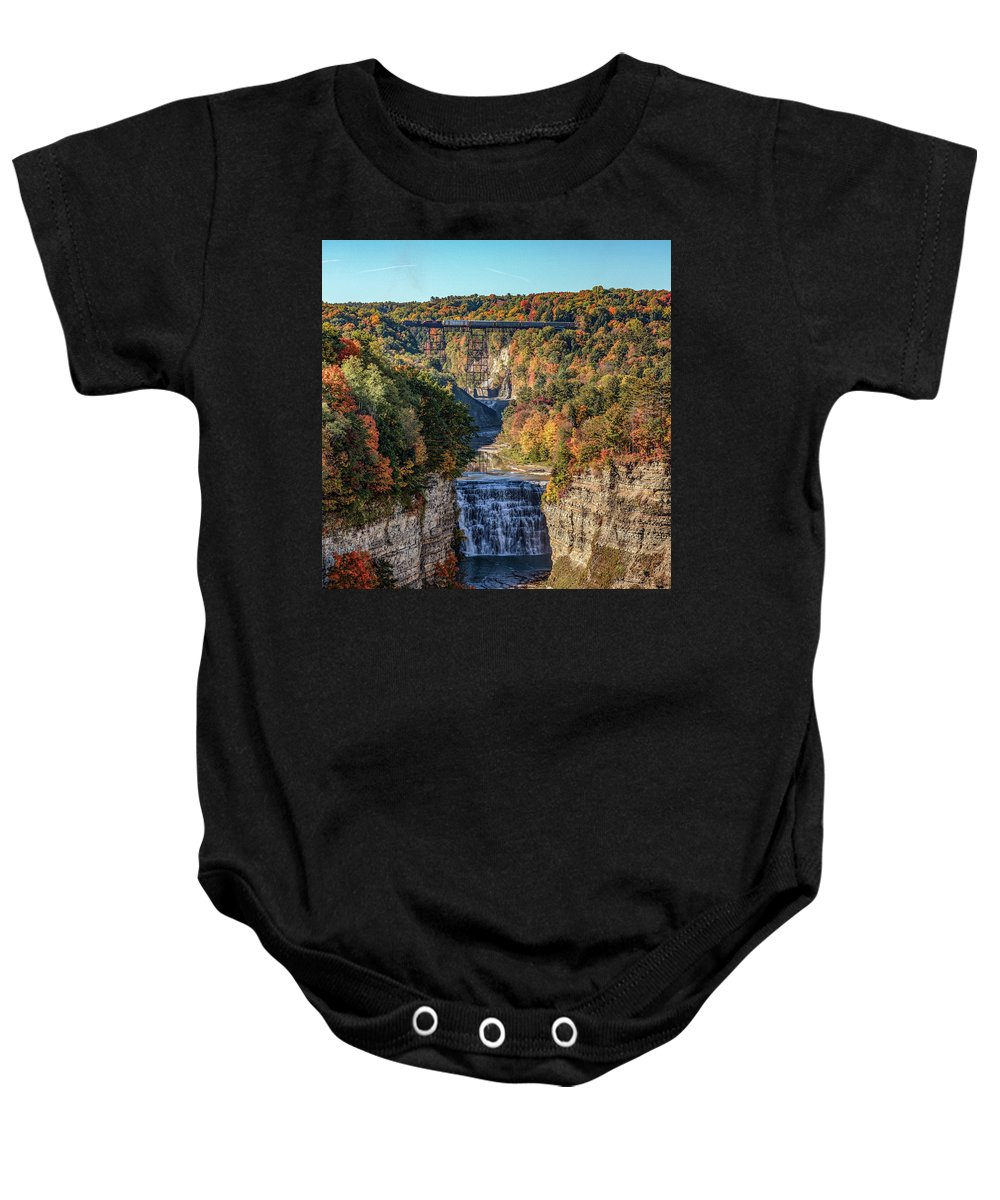 Train Baby Onesie featuring the photograph Train Over Letchworth by Rod Best