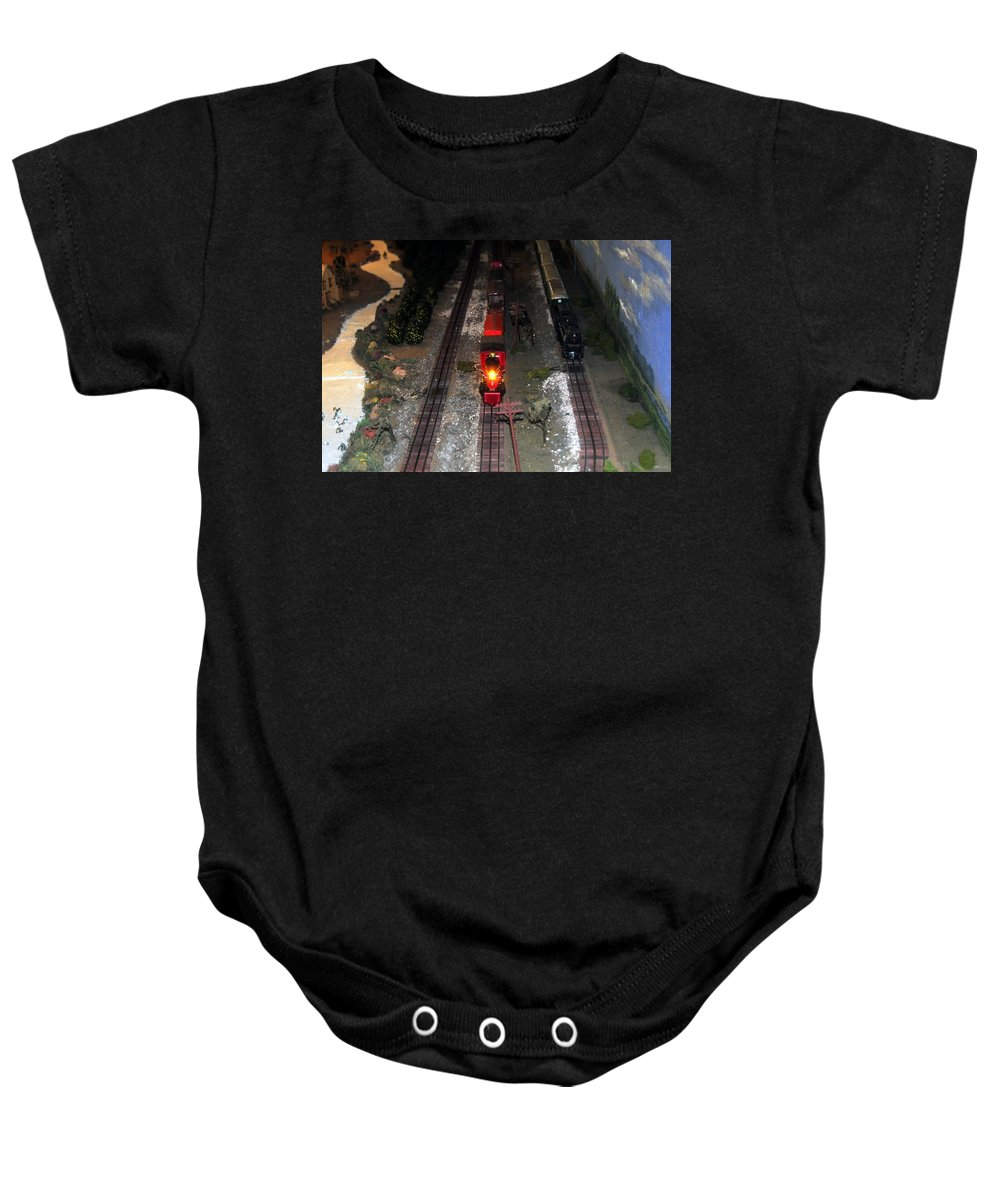 Train Baby Onesie featuring the photograph Train Set by David Lee Thompson