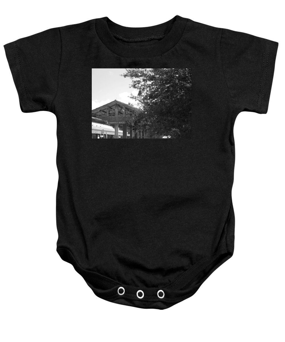 Black And White Baby Onesie featuring the photograph Train Station In Deerfield Beach by Rob Hans