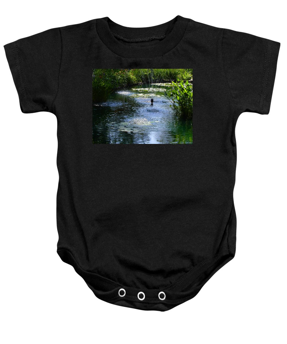 Pond Baby Onesie featuring the photograph Tranquil Waters by Anne Cameron Cutri