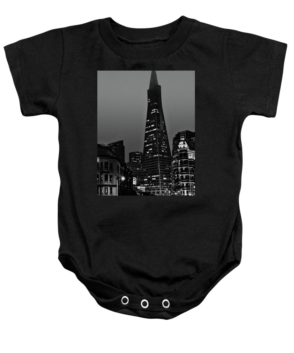 Trans American Building Baby Onesie featuring the photograph Trans American Building At Night by Tommy Anderson
