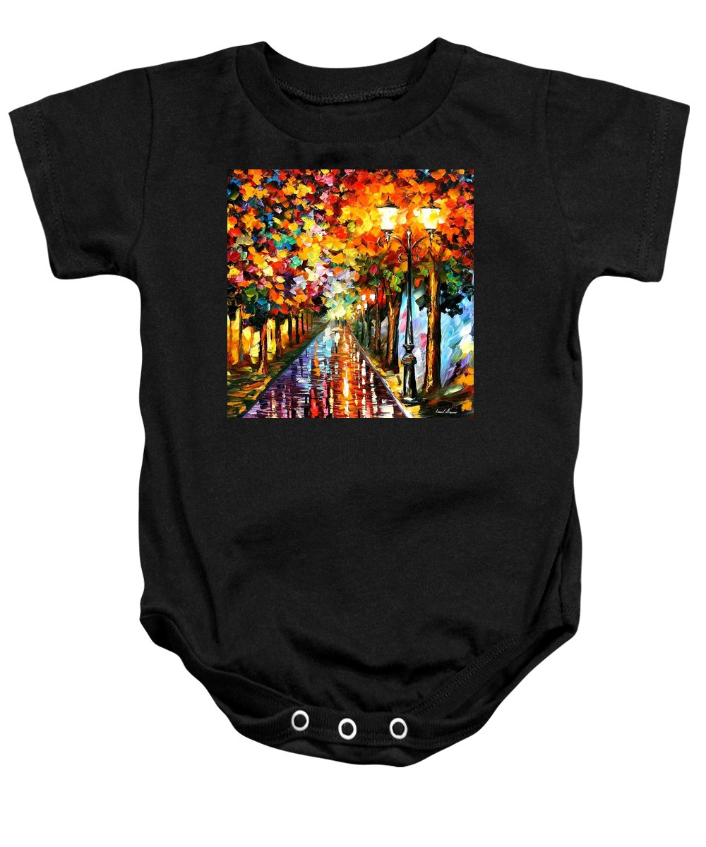 Afremov Baby Onesie featuring the painting Transformation Of The Night by Leonid Afremov