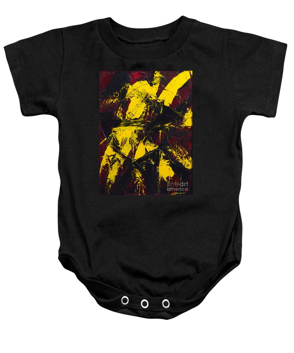 Abstract Baby Onesie featuring the painting Transitions With Yelllow And Black by Dean Triolo