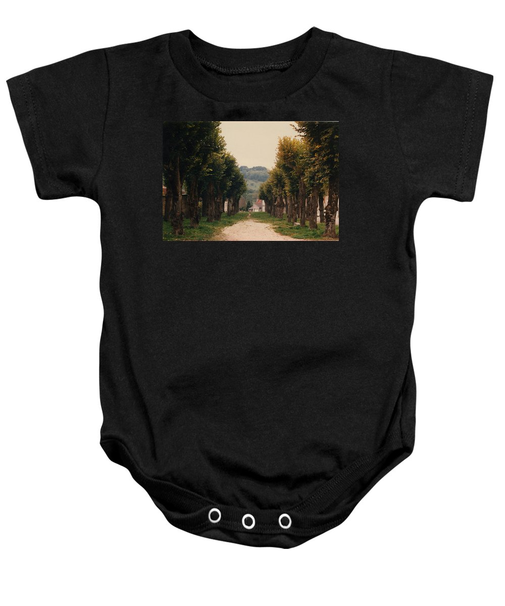 Trees Baby Onesie featuring the photograph Tree Lined Pathway in Lyon France by Nancy Mueller