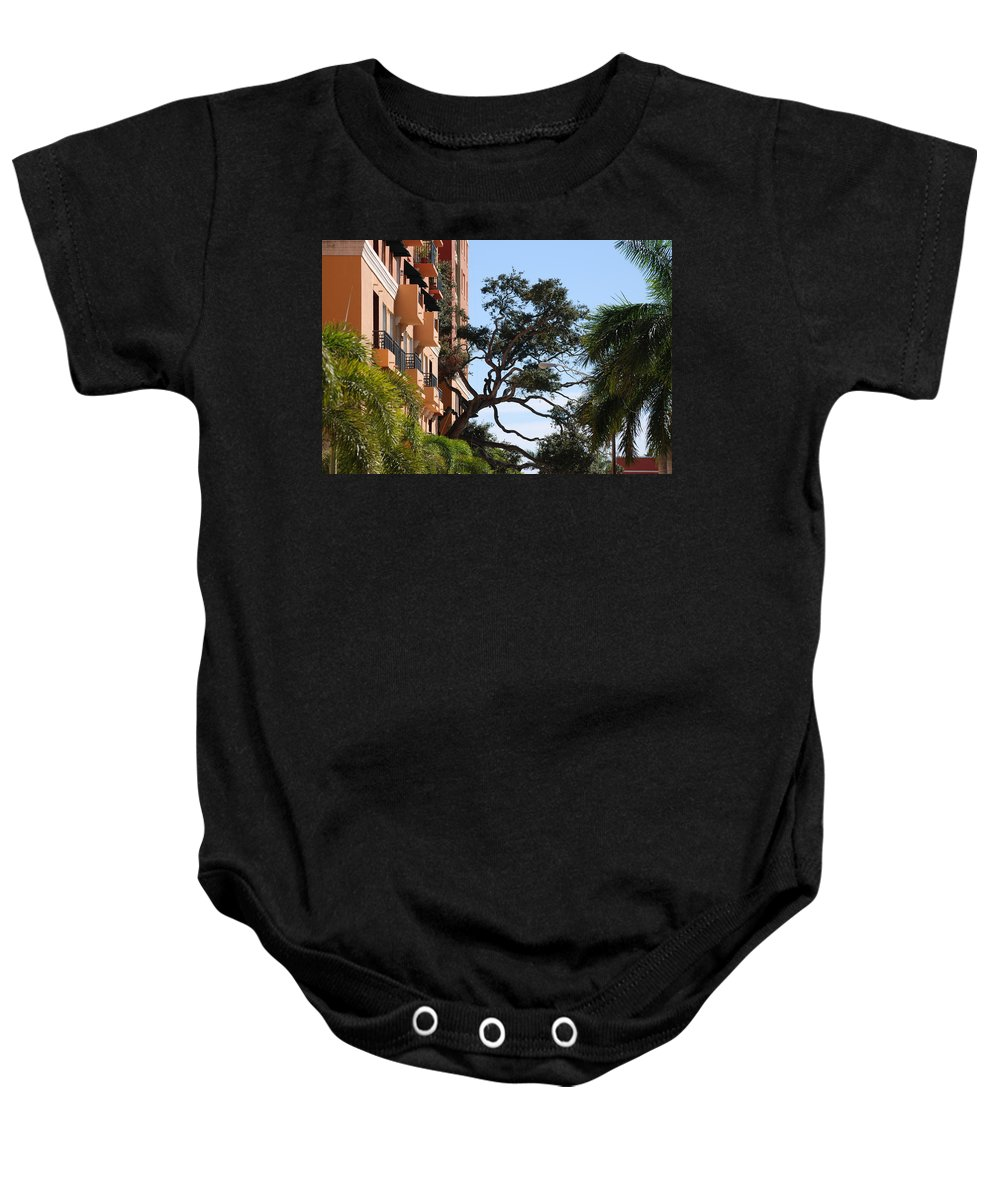 Architecture Baby Onesie featuring the photograph Trees In Space by Rob Hans