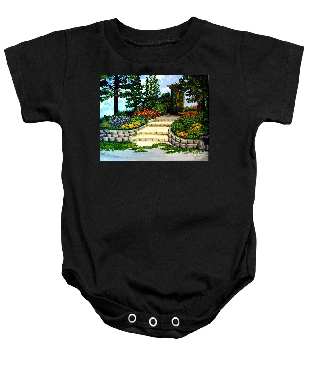 Landscape Baby Onesie featuring the painting Trellace Gardens by Elizabeth Robinette Tyndall