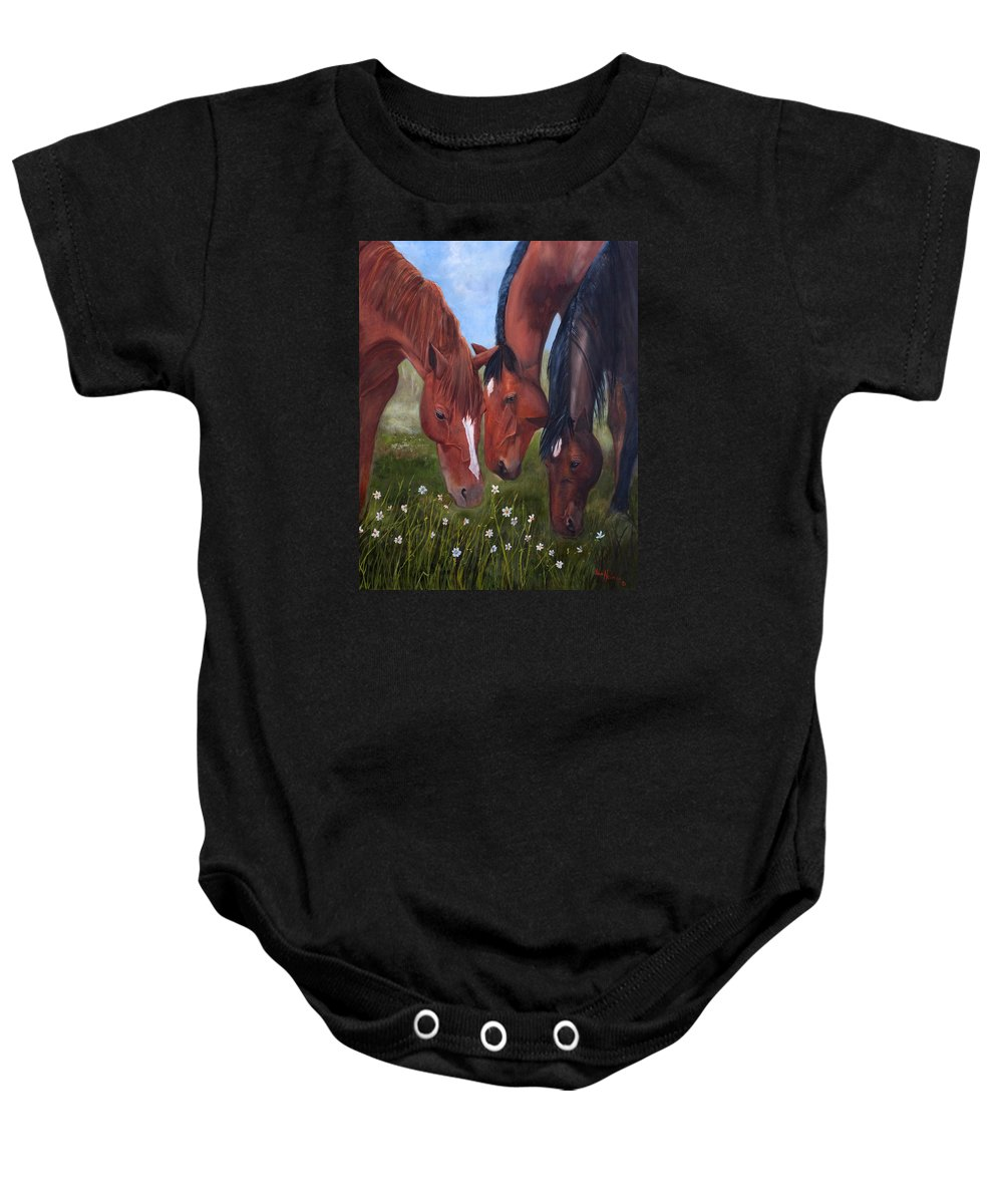 Jan Holman Art Painting 2010 Horses.animals Baby Onesie featuring the painting Tres Amigos by Jan Holman