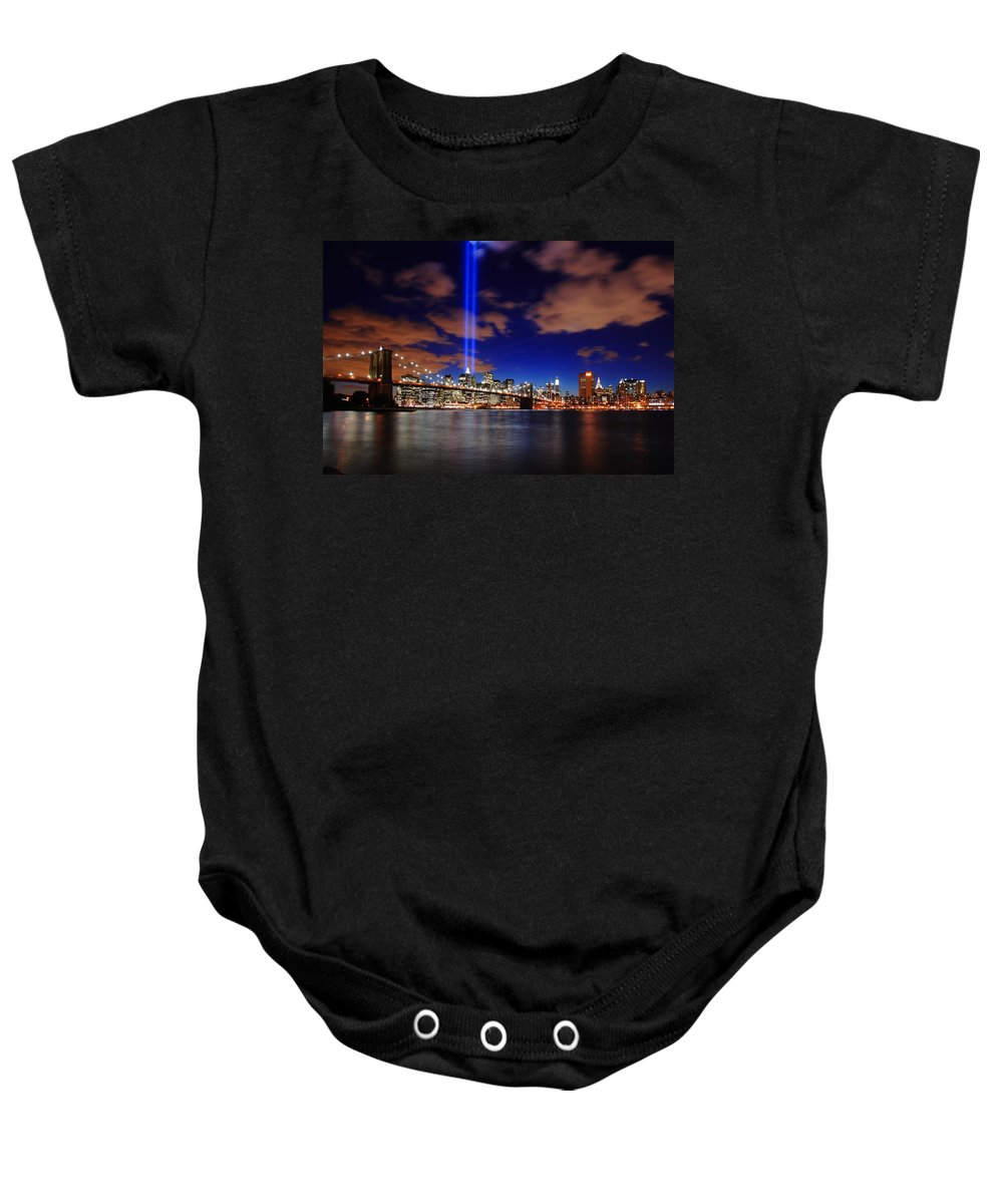 New York City Baby Onesie featuring the photograph Tribute In Light by Rick Berk