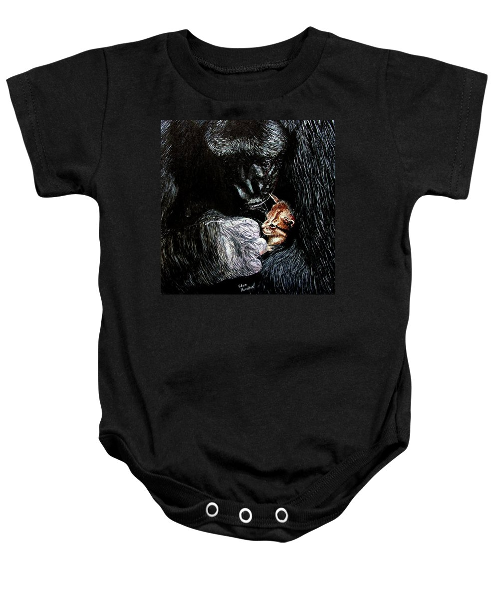 Gorillia Baby Onesie featuring the painting Tribute To Koko by Stan Hamilton